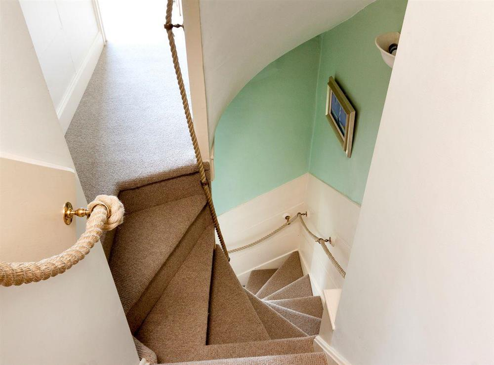 Stairs to first floor at At Last in Dartmouth, Devon