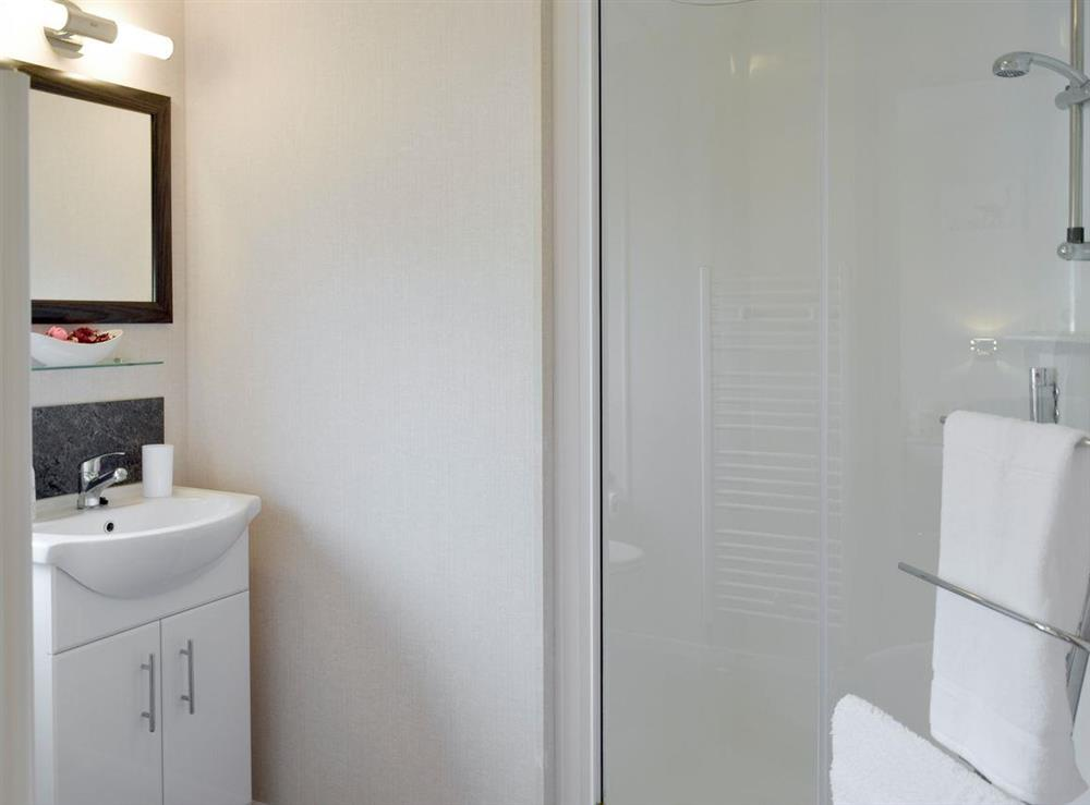 Shower room with heated towel rail at Azure View in Corton, near Lowestoft, Suffolk