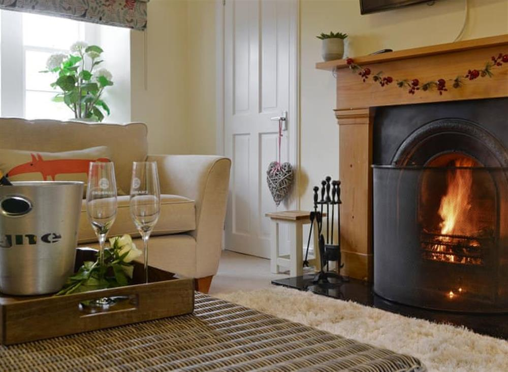 Welcoming living room with open fire at Baldowrie Gate Lodge in Kettins, near Blairgowrie, Perthshire