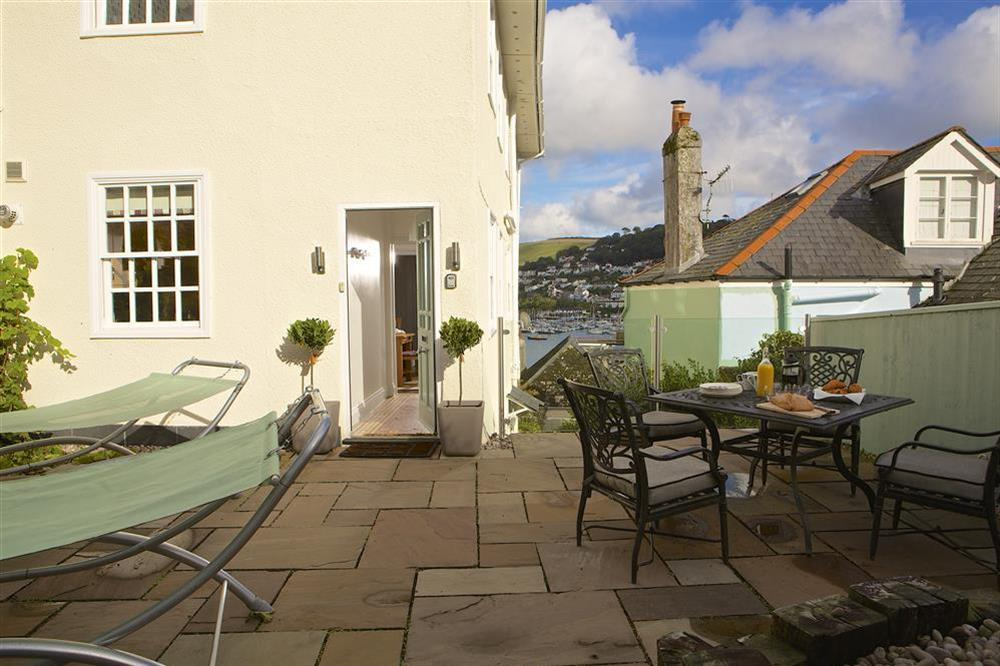 Sunny patio at the rear of the property at Balmoral House in , Dartmouth