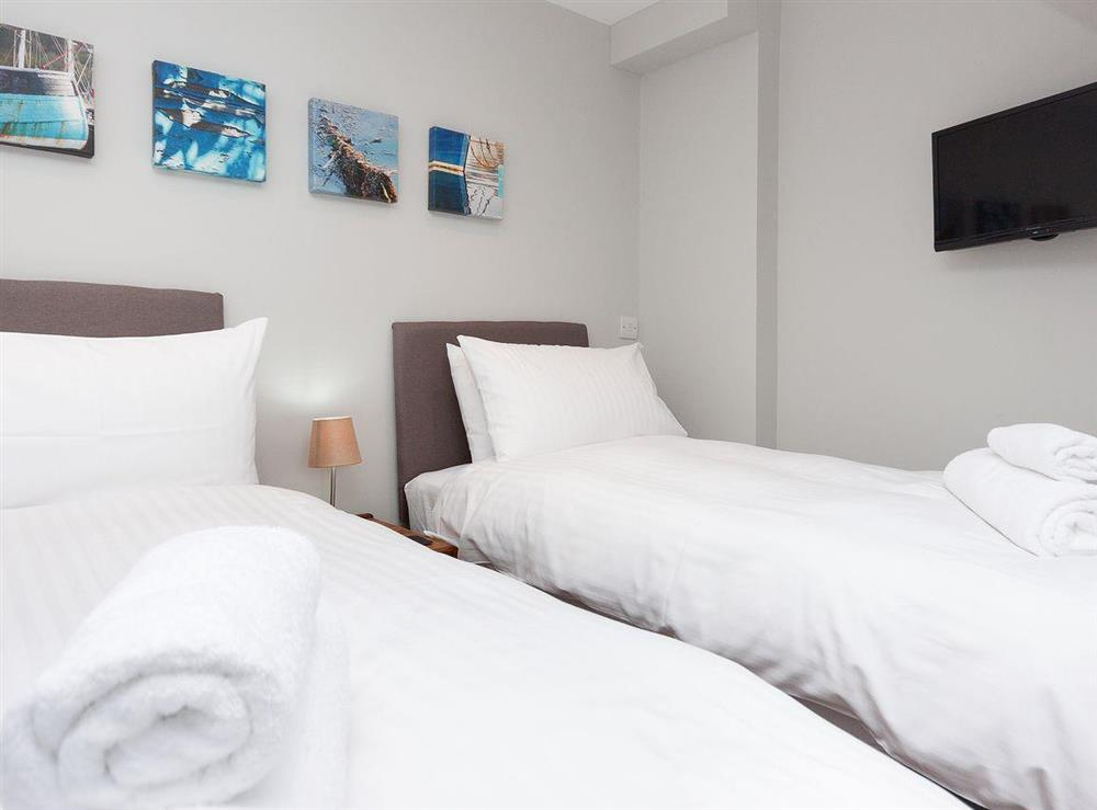 Third bedroom in twin bedded configuration at Bank Apartment 2 in Dartmouth, Devon