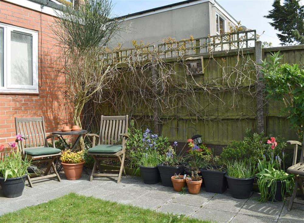 Peaceful garden area at Barness Rest Annexe in Weymouth, , Dorset