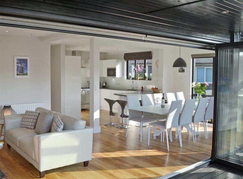 Open plan living/dining room/kitchen at Bay Tree Lodge in Hoveton, near Wroxham, Norfolk