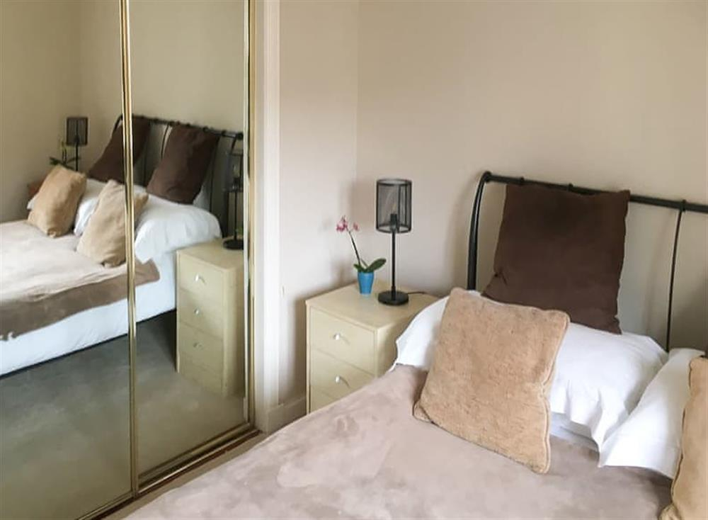 Double bedded room with storage at Beachside in Ayr, Ayrshire