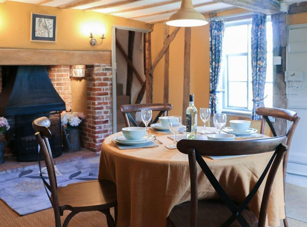 Dining room at Bell Corner Cottage in Cratfield, Halesworth, Suffolk., Great Britain