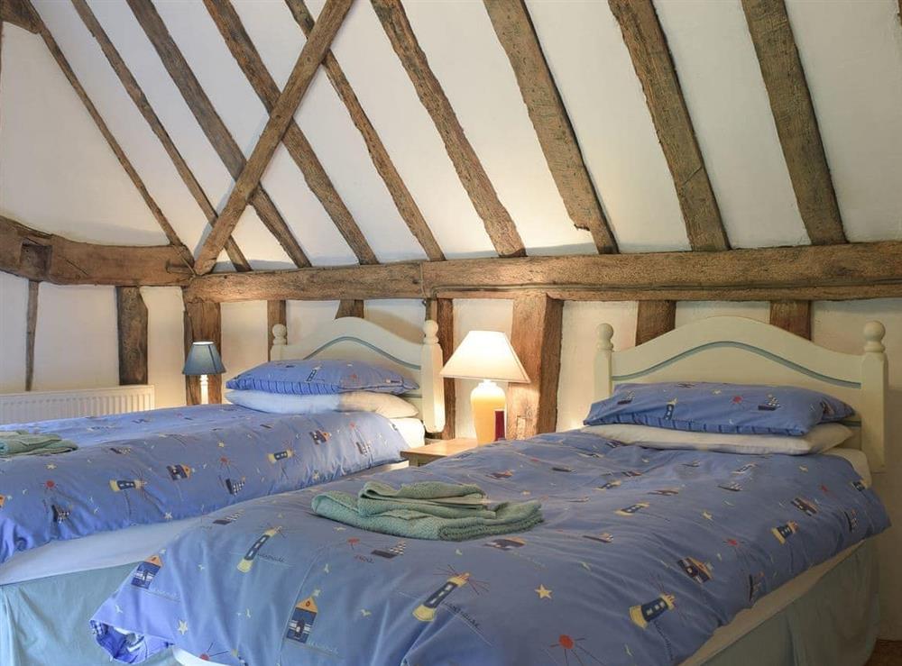 Twin bedroom at Bell Corner Cottage in Cratfield, Halesworth, Suffolk., Great Britain