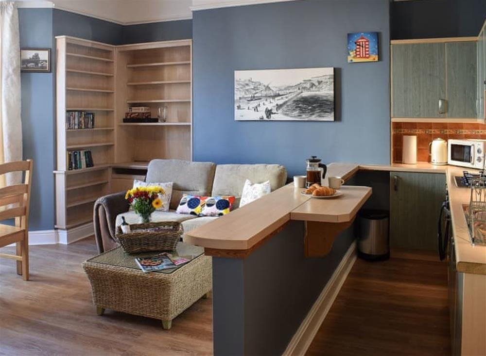 Comfortable open plan living area at Belle Vue Cabin in Whitby, North Yorkshire
