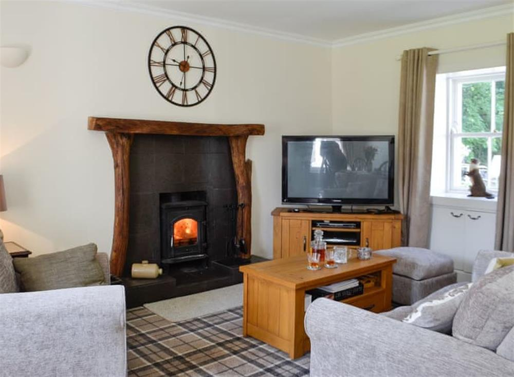 Living room with wood burner (photo 2) at Belstane Cottage in Straiton, near Ayr, Ayrshire