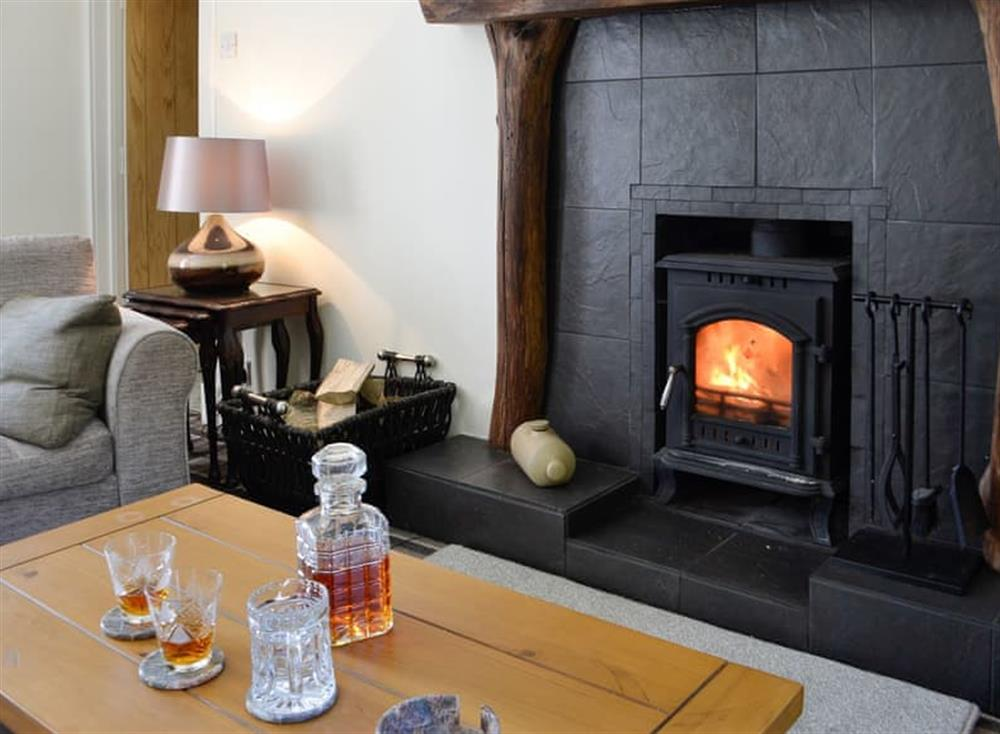 Living room with wood burner at Belstane Cottage in Straiton, near Ayr, Ayrshire