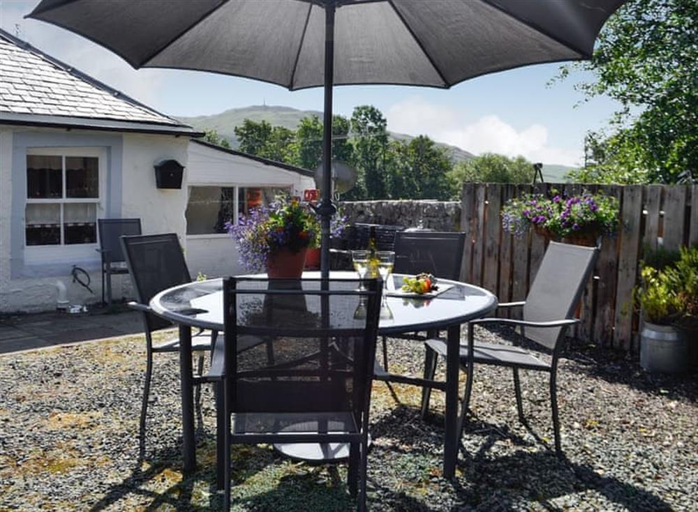 Sitting out area at Belstane Cottage in Straiton, near Ayr, Ayrshire