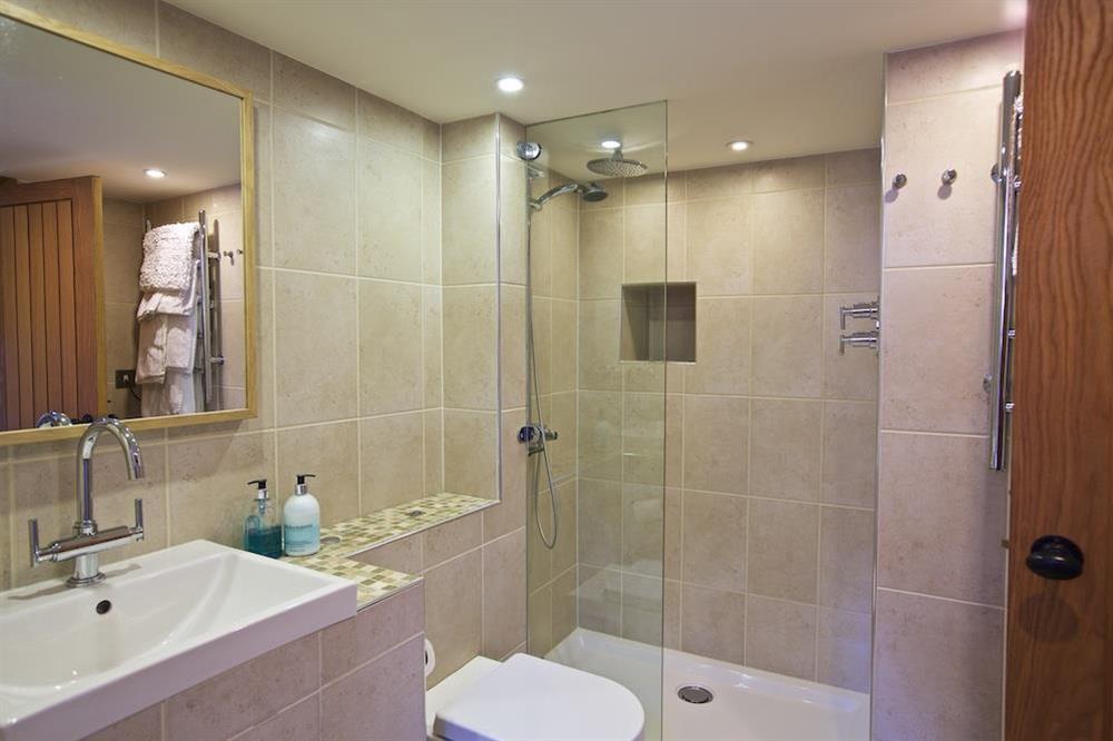En suite shower room at Berry Cottage in , Dittisham