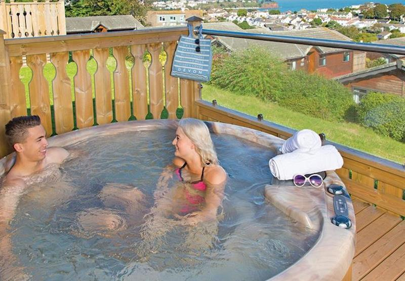 Hot tub in Platinum 6 Lodge at Beverley View in Paignton, South Devon