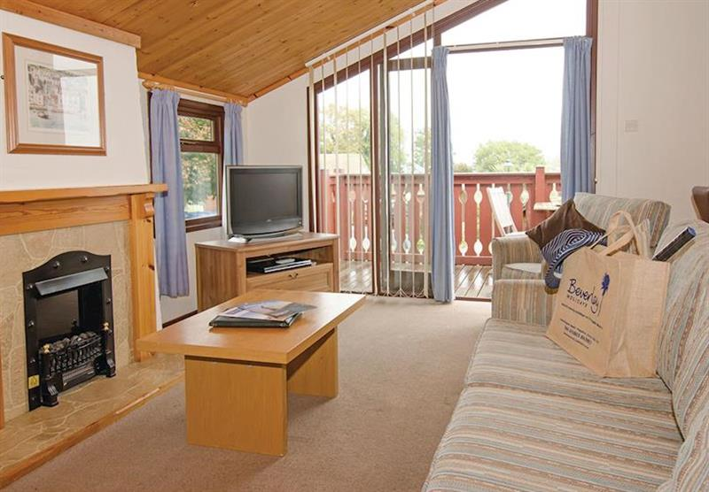 Living room in Comfort Plus 6 Lodge at Beverley View in Paignton, South Devon