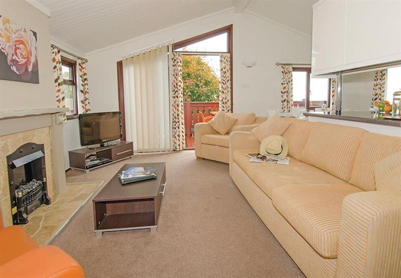 Living room in the Premier Plus 6 Lodge at Beverley View in Paignton, South Devon