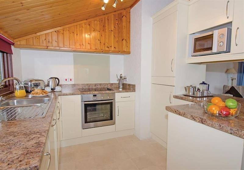 The kitchen in the Comfort Plus 6 Lodge at Beverley View in Paignton, South Devon