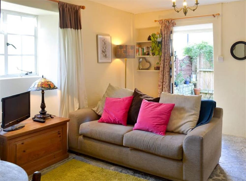 Comfortable living area at Birch Cottage in Butleigh, near Glastonbury, Somerset