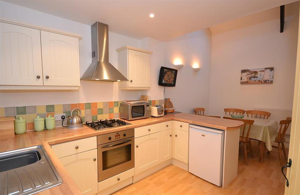 The modern and well equipped kitchen at Blackberry Cottage, Slapton