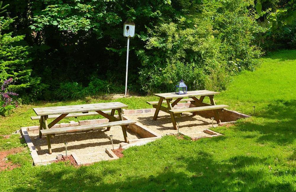 The sunny barbecue area at Blackberry Cottage, Slapton