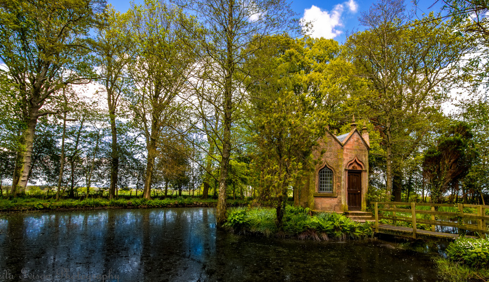 The lake in the grounds at Blaithwaite House, Blaithwaite Estate in Waverton, near Wigton, Cumbria