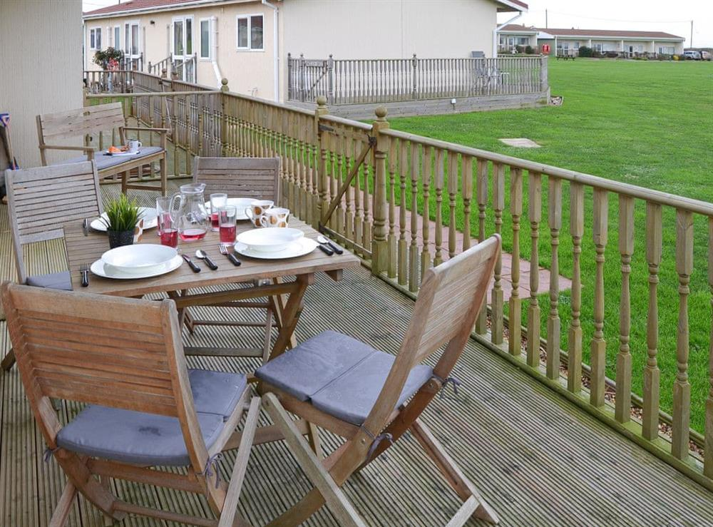 Outdoor seating area at Boa Vista in Bacton, near Stalham, Norfolk