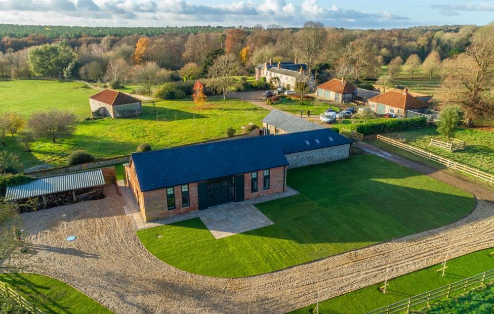 Aerial view of Bodney lodge and beautiful countryside all around