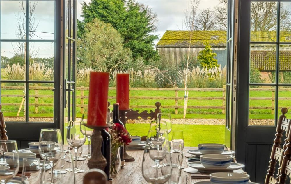 Main Barn Ground Floor: Open the french doors to let the breeze in while you dine