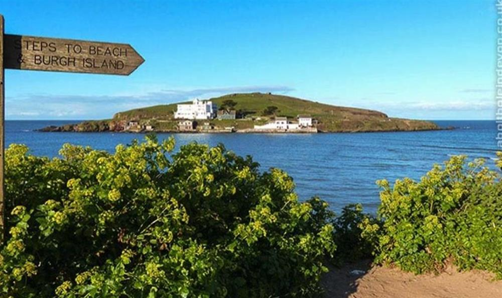 Burgh Island, Bigbury seen from the South West Coastal Path at Bolthole Cabin, Dartmouth
