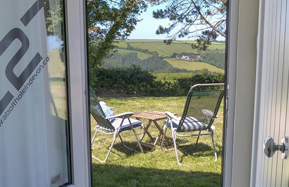 View from the door at Bolthole Cabin, Dartmouth