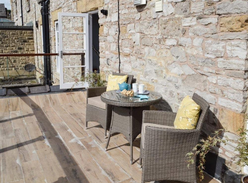 Balcony with sitting-out area and garden furniture at Bookkeepers Place in Bakewell, Derbyshire
