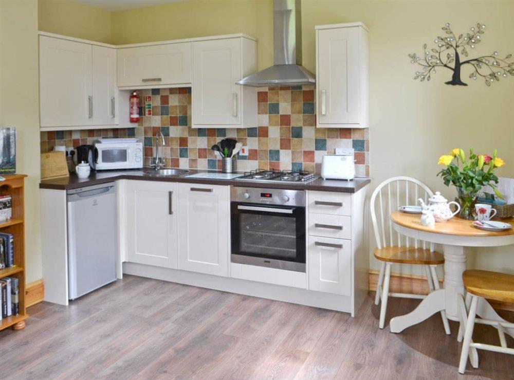 Well-equipped kitchen in open-plan living space at Fir Tree Cottage,