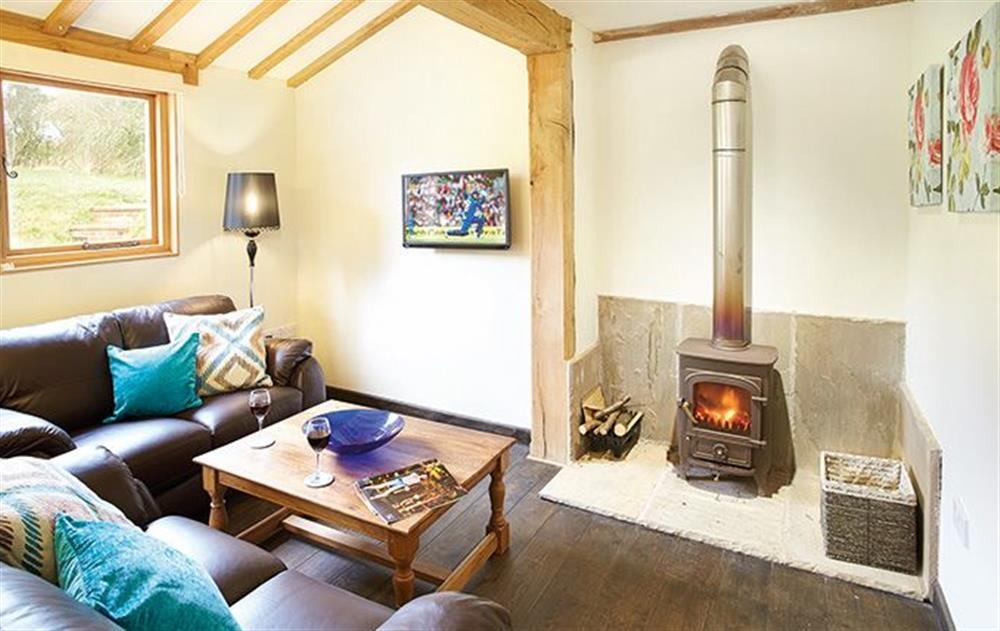 Ground floor:  Large sitting/dining room with wood burning stove at Botloes Cottage, Newent