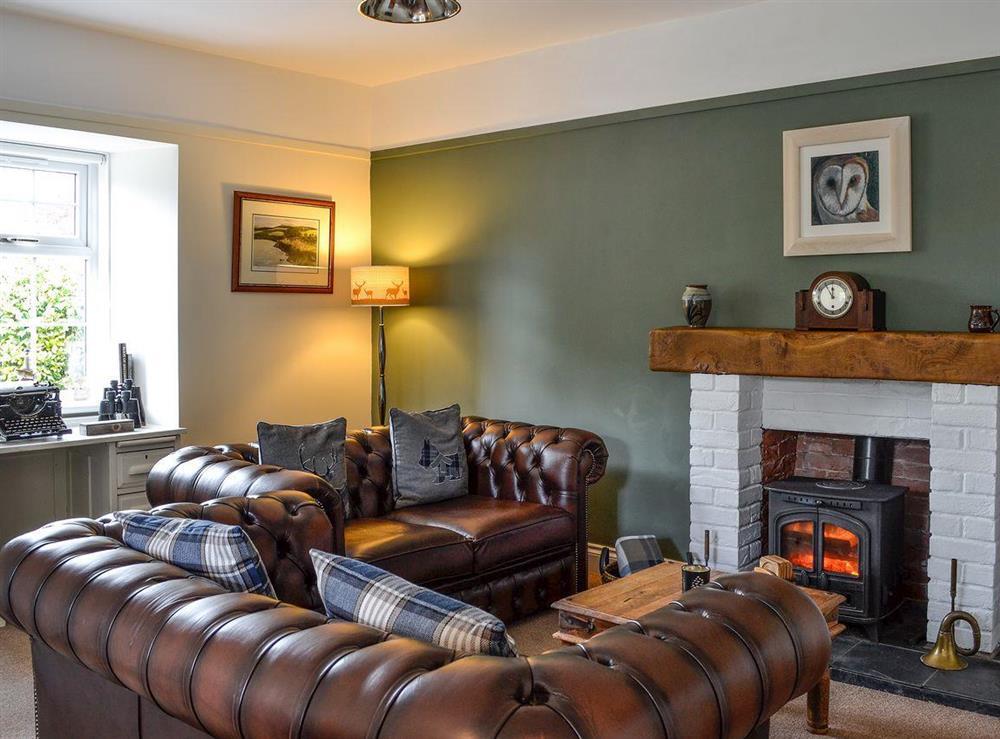 Cosy living room with wood burner at Braefoot 1860 in Straiton, near Maybole, Ayrshire