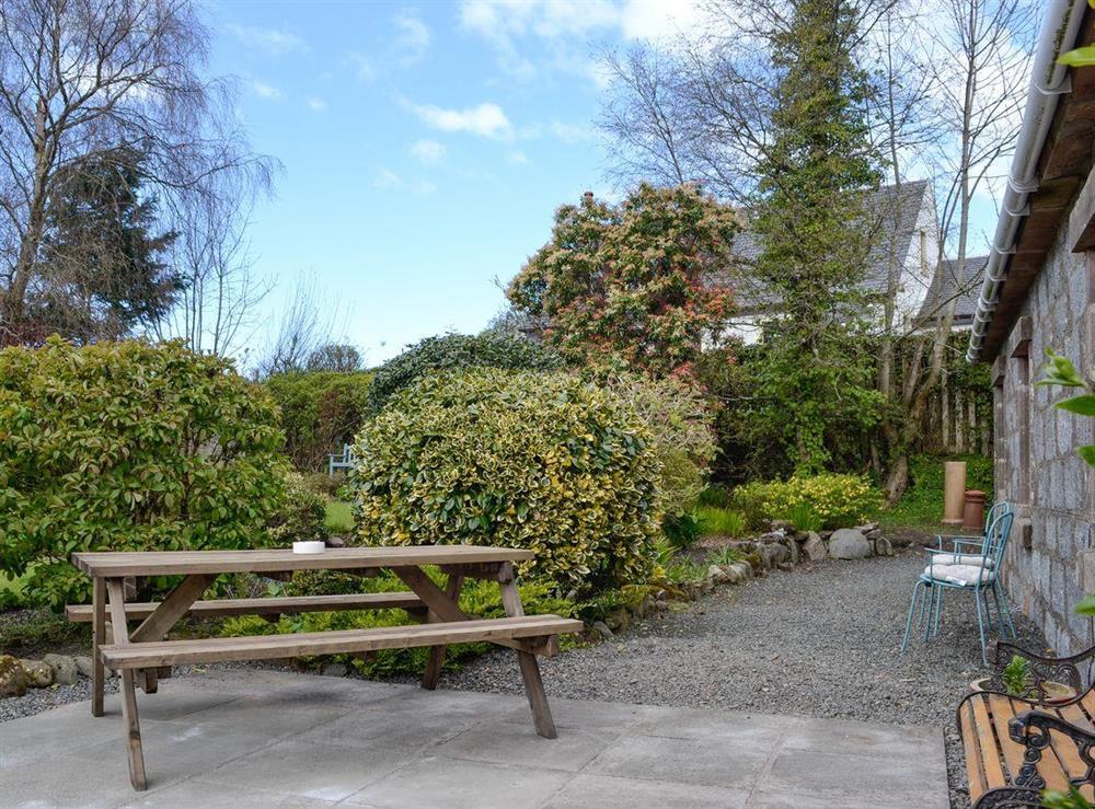 Outdoor seating area at Braefoot 1860 in Straiton, near Maybole, Ayrshire
