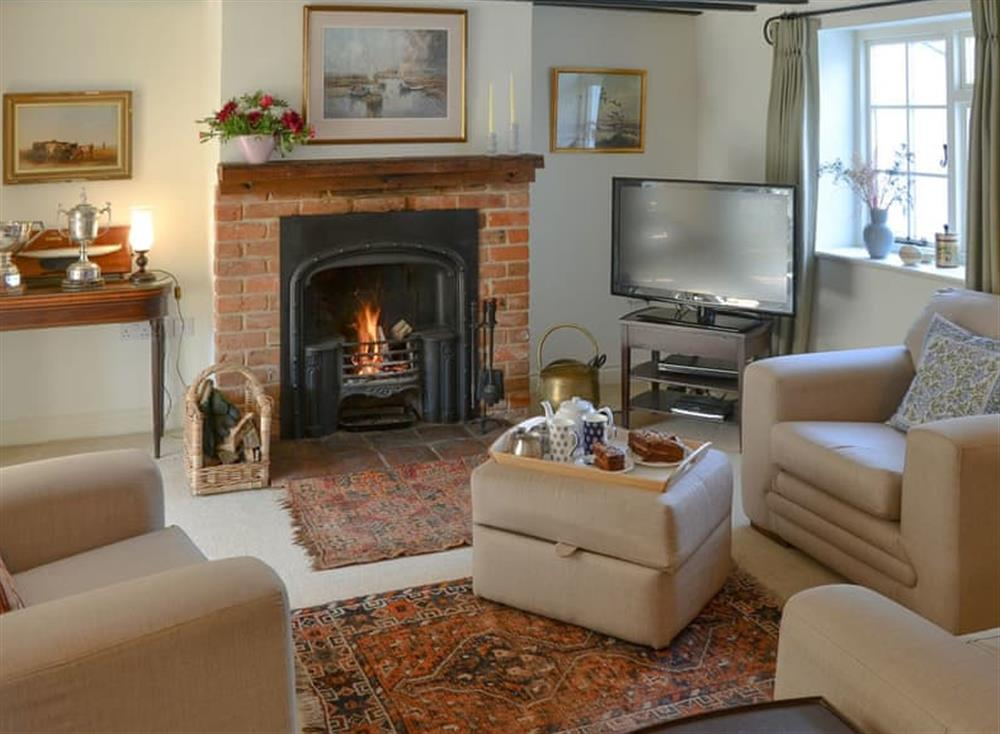 Delightful living room with an open fire at Broad Cottage in Barton Turf, near Norwich, Norfolk