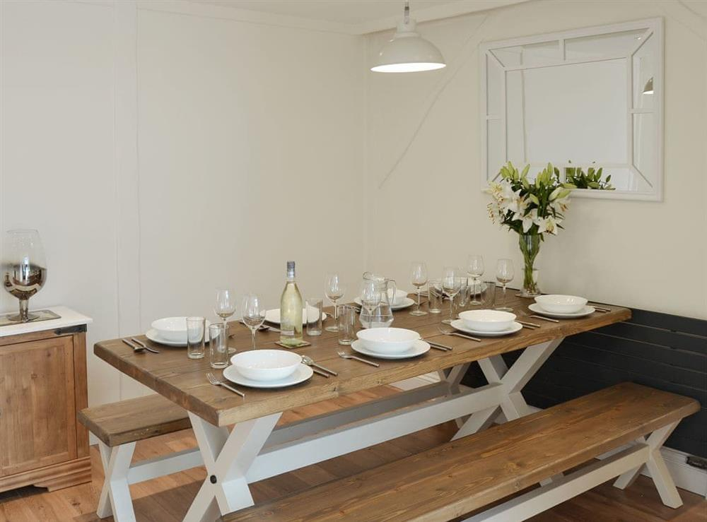 Charming dining area at Broadland Hideaway in Martham, near Great Yarmouth, Norfolk
