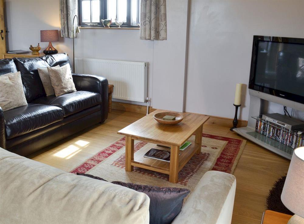 Open plan living space at Brookhouse Barn in Chapel Allerton, near Cheddar, Somerset