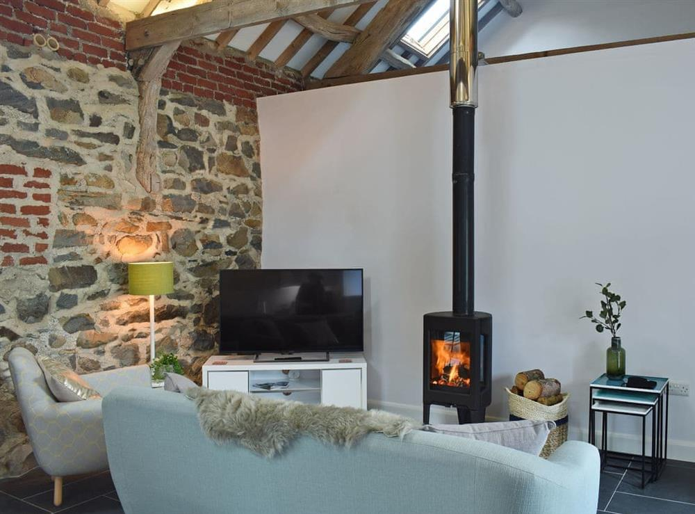 Tastefully furnished living area with cosy wood burner at Bedwen,