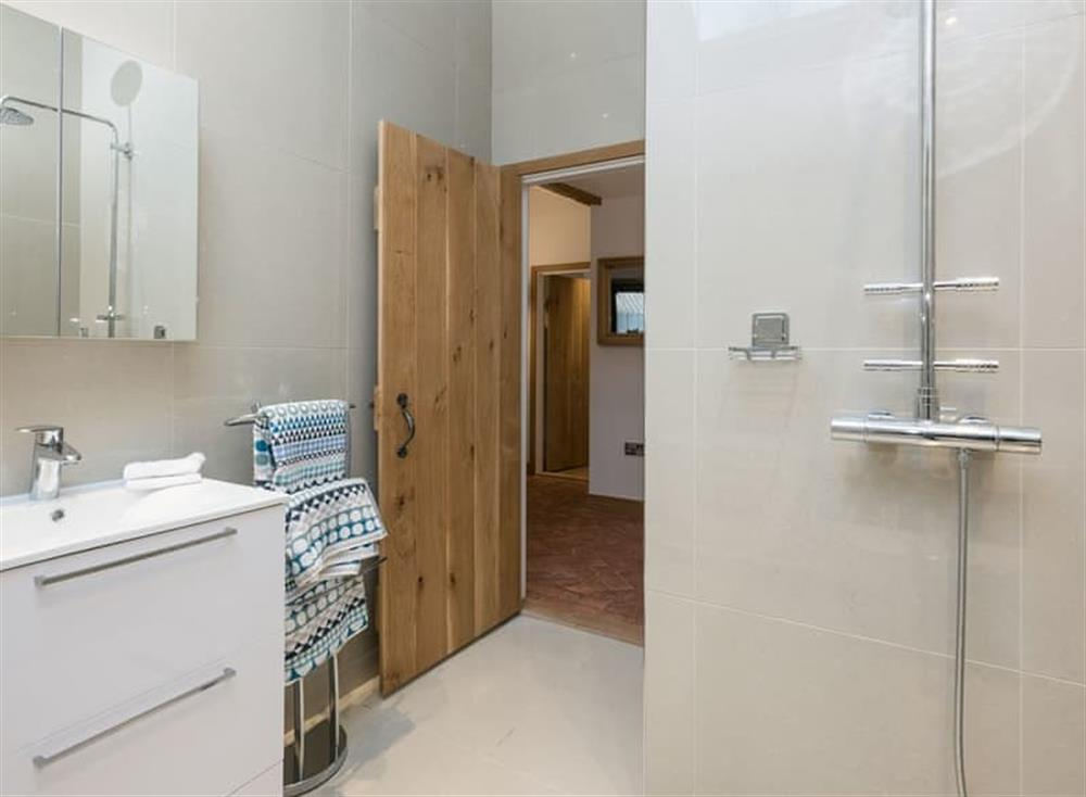 Bathroom with shower at Bumblebee Cottage in Geldeston, near Beccles, Norfolk