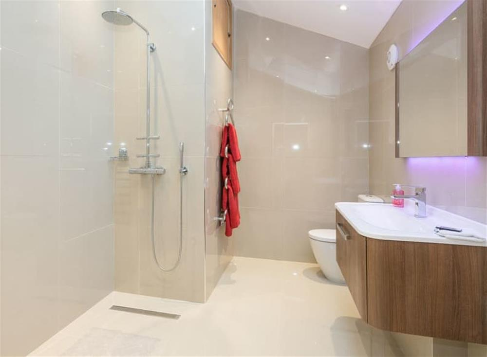 Shower room at Bumblebee Cottage in Geldeston, near Beccles, Norfolk