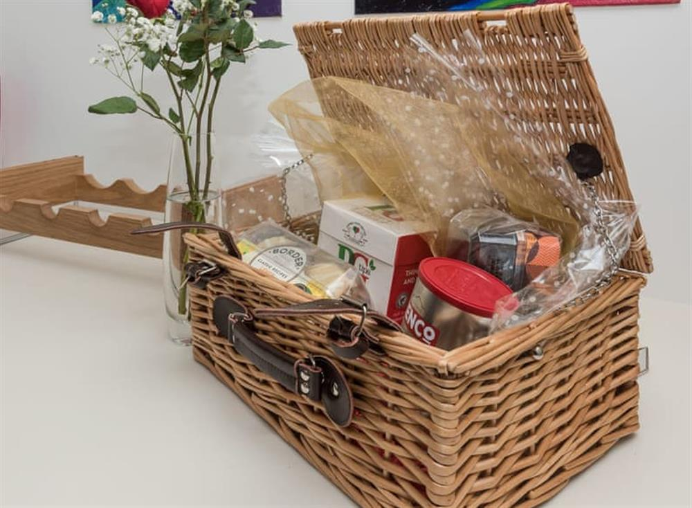 Welcome hamper at Bumblebee Cottage in Geldeston, near Beccles, Norfolk