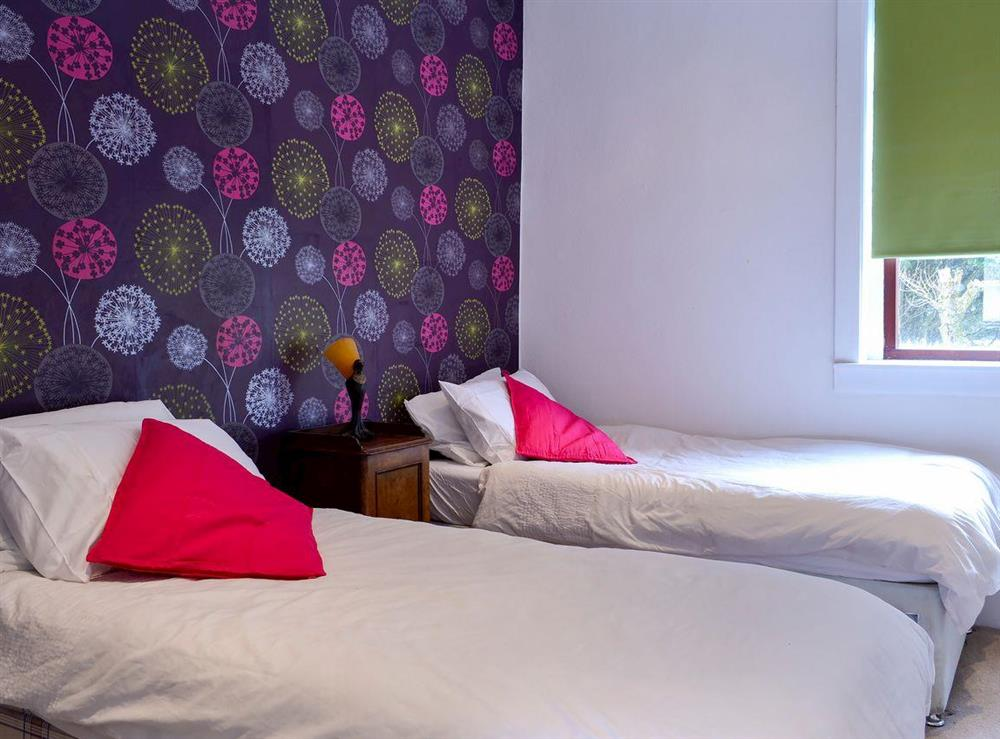 Twin bedroom at Burnside Cottage in Tormitchell, near Girvan, Ayrshire