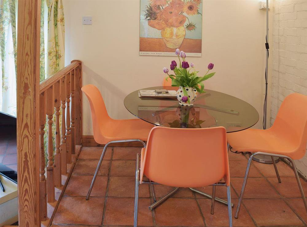 Raised dining area adjacent to the kitchen at Butter Pen in Denton, near Bungay, Norfolk