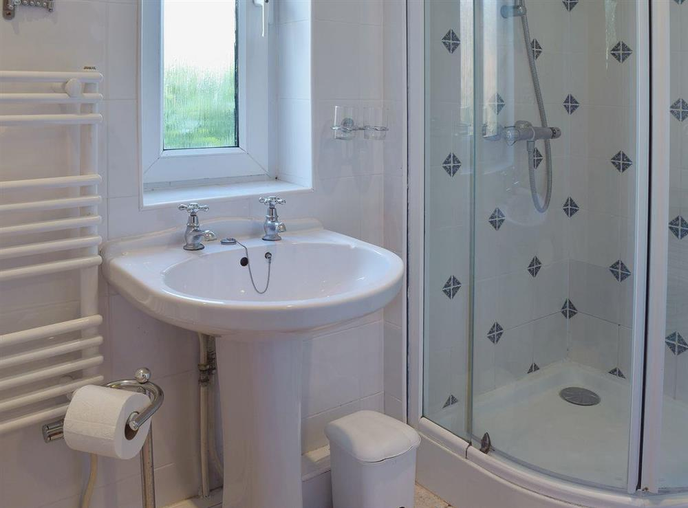 Shower room with heated towel rail at Butter Pen in Denton, near Bungay, Norfolk