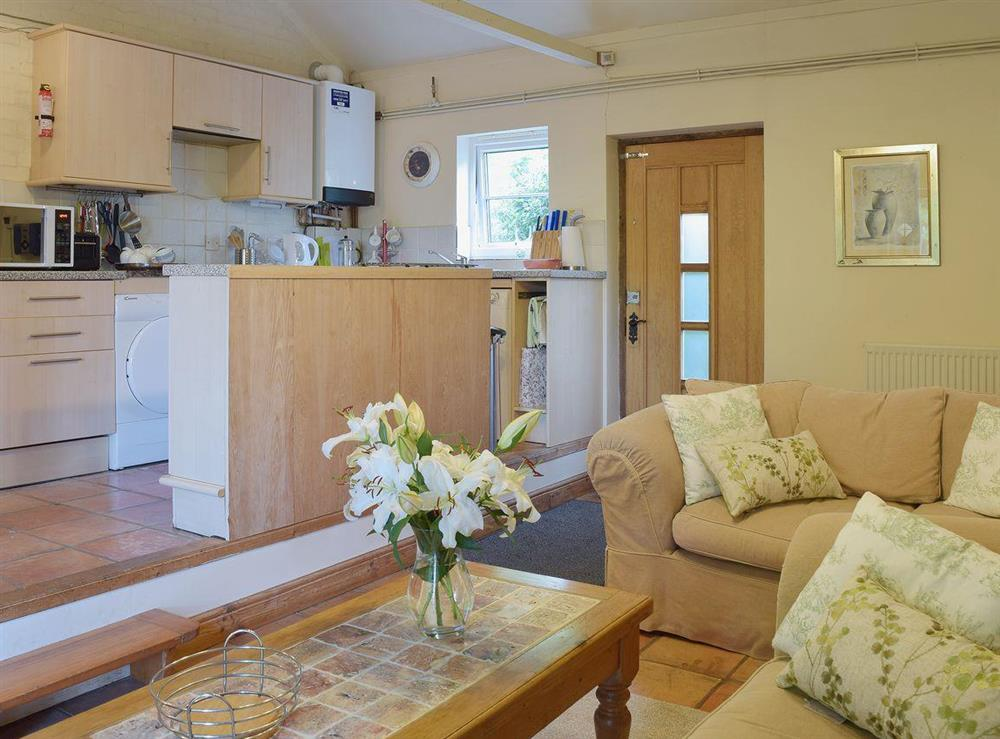 Well fitted kitchen a short step up from the living area at Butter Pen in Denton, near Bungay, Norfolk