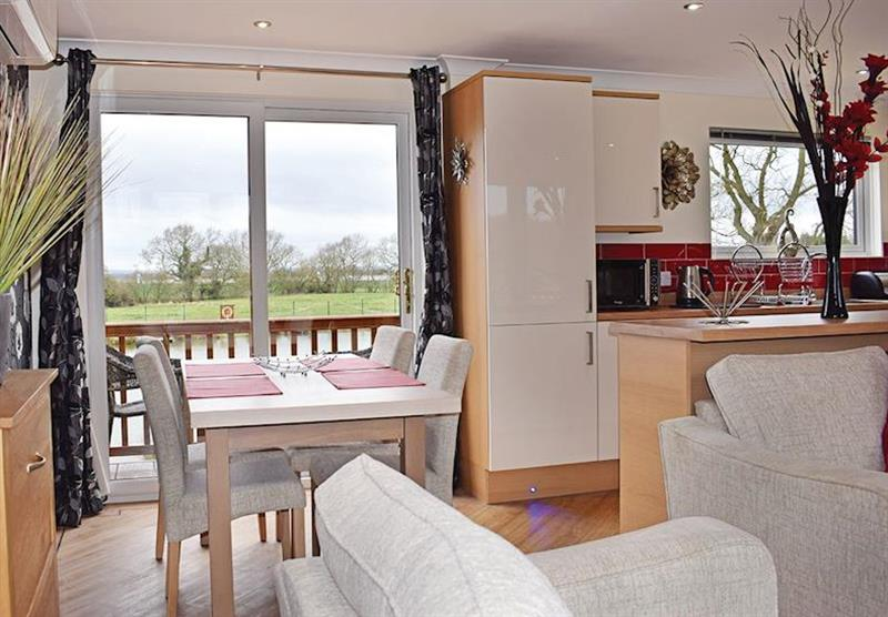 Dining area and living room in a Teal Lodge at Caistor Lakes Lodges in Caistor, Market Rasen