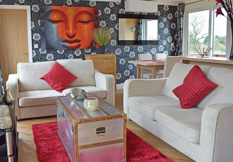 Living room in a Teal Lodge at Caistor Lakes Lodges in Caistor, Market Rasen
