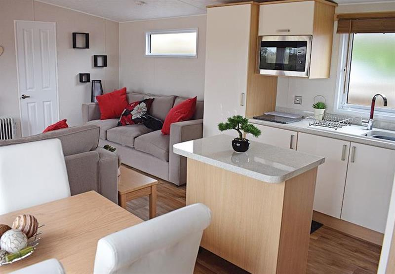 Lving room and kitchen in a Kingfisher at Caistor Lakes Lodges in Caistor, Market Rasen