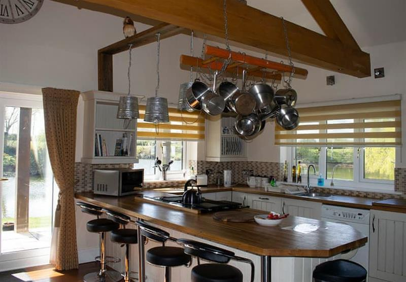 Kitchen in the Lakeside Log Cabin at Camper UK Leisure Park in Swinethorpe, Nr Lincoln