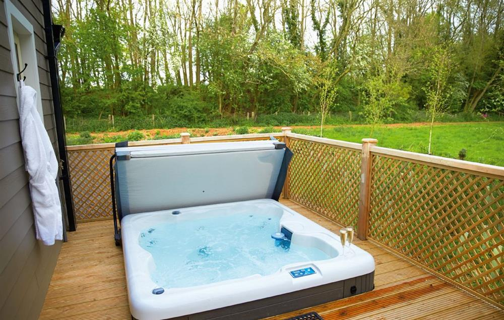 Decked area with garden furniture and hot tub at Campion Lodge, Wakes Colne