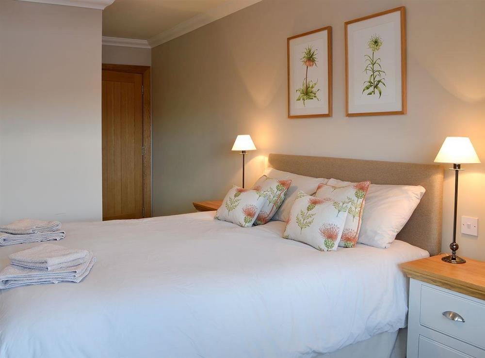 Beautifully furnished and decorated double bedroom at Canterland Lodge in Marykirk, near Montrose, Aberdeenshire, Scotland